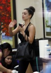 Reality TV babe Kim Kardashian is seen make-up free as she gets a manicure at a salon in Beverly Hills